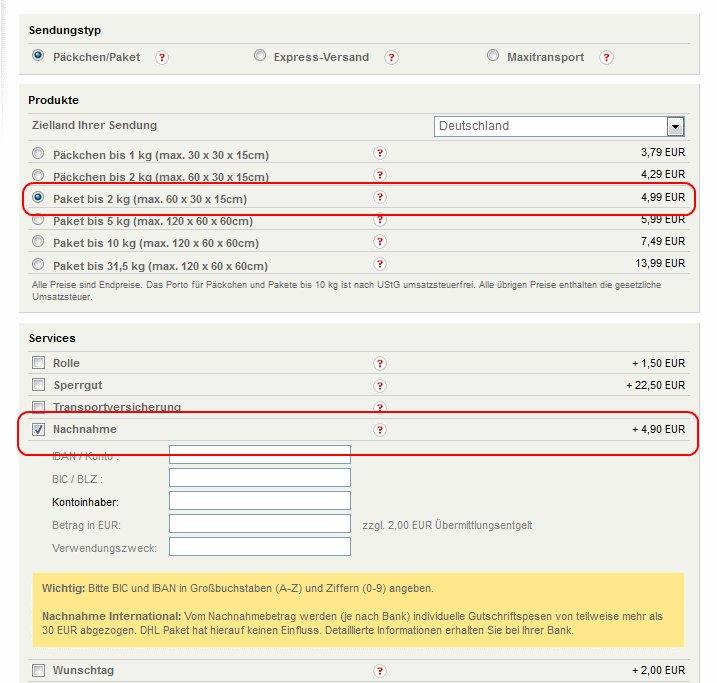Dhl Nachnahme Online Beauftragen Kosten Paketversand Formular