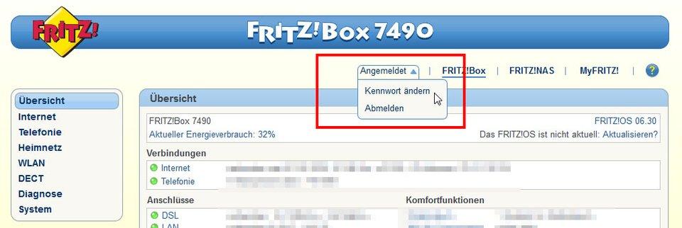 Fritzbox: Hier ändert ihr das Passwort.