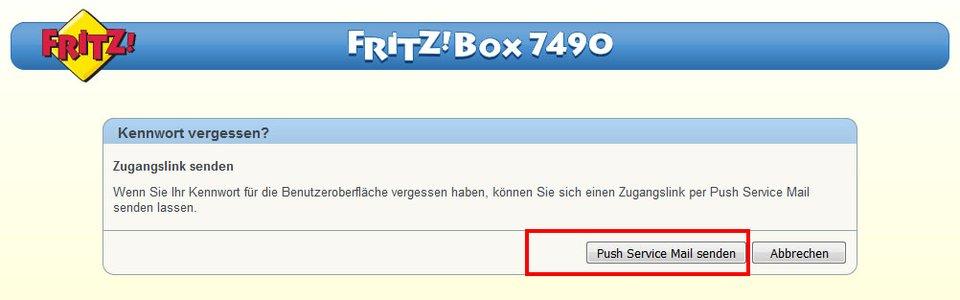 Fritzbox-Login: Hier könnt ihr euch einen Zugangslink per E-Mail senden, wenn ihr das Passwort vergessen habt.