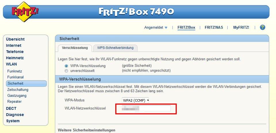 Fritzbox: Hier ändert ihr das WLAN-Passwort.