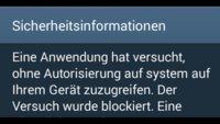 Eine Anwendung hat versucht, ohne Autorisierung auf system auf Ihrem Gerät zuzugreifen