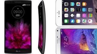 LG G Flex 2, iPhone 6 Plus und Samsung Galaxy Note 4 im Vergleich