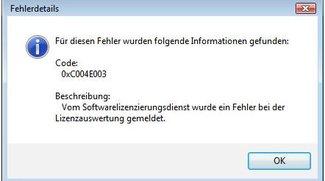 Lösung: 0xc004e003-Fehler bei Windows-Aktivierung