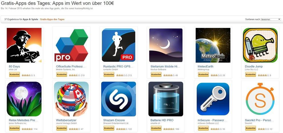 Amazon: 37 Apps im Wert von über 100 Euro für kurze Zeit kostenlos