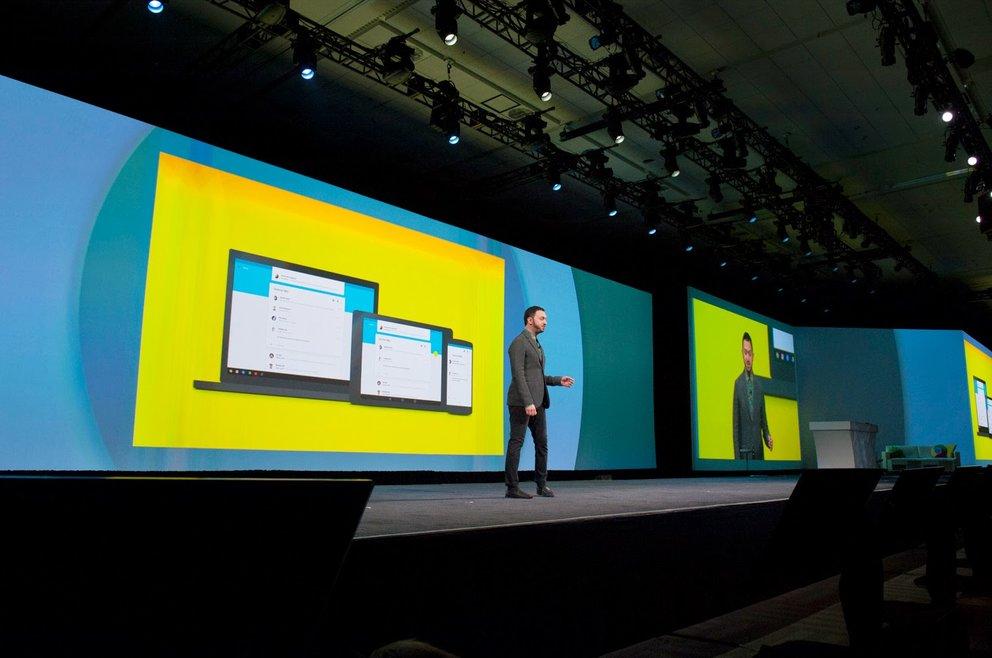 Matías Duarte durfte aufblühen: Das neue Material Design musste auf der Keynote der Google I/O 2014 erläutert werden (Quelle: Google)