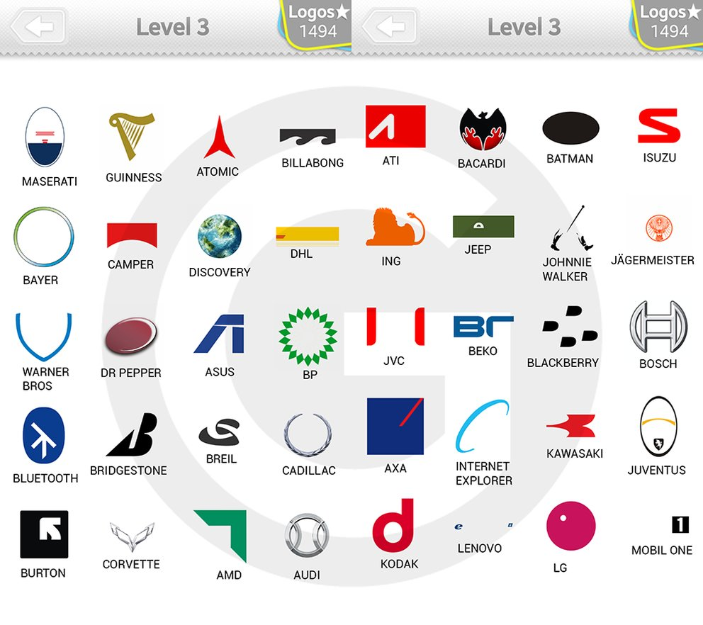 Logo Quiz Extra Levels Lösungen: Expert Level 3 - GIGA