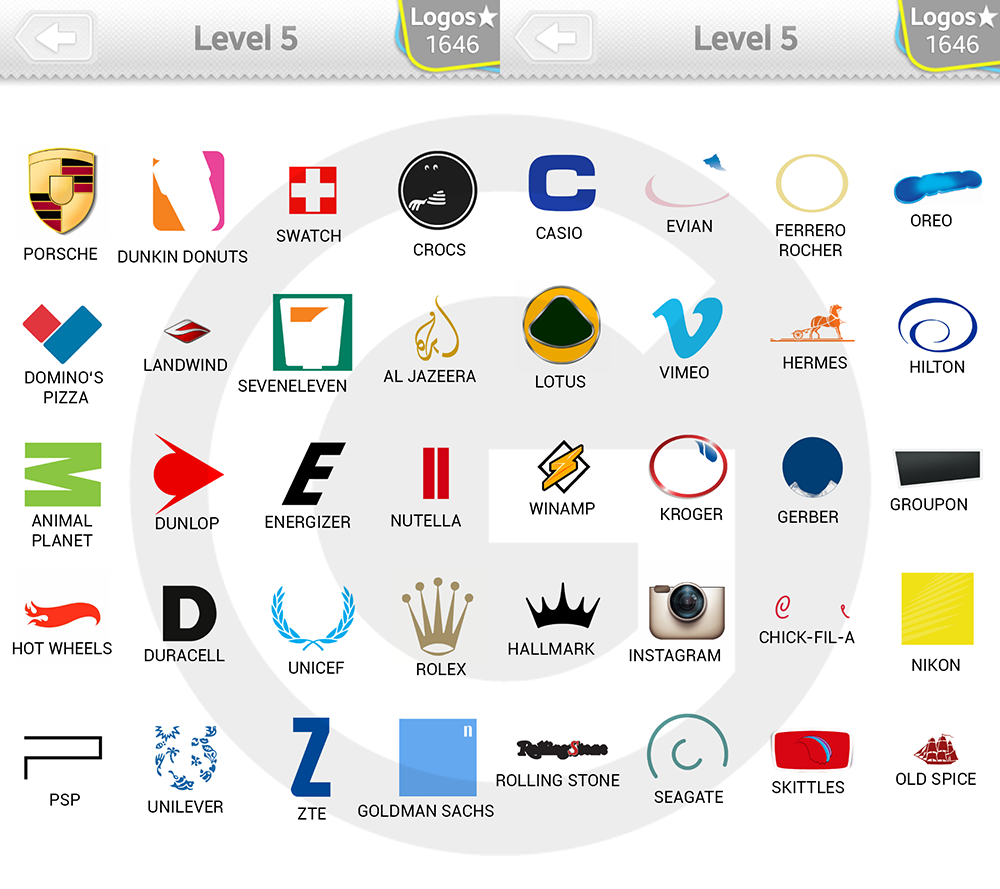 Logo Quiz Extra Levels Lösungen: Expert Level 5 - GIGA