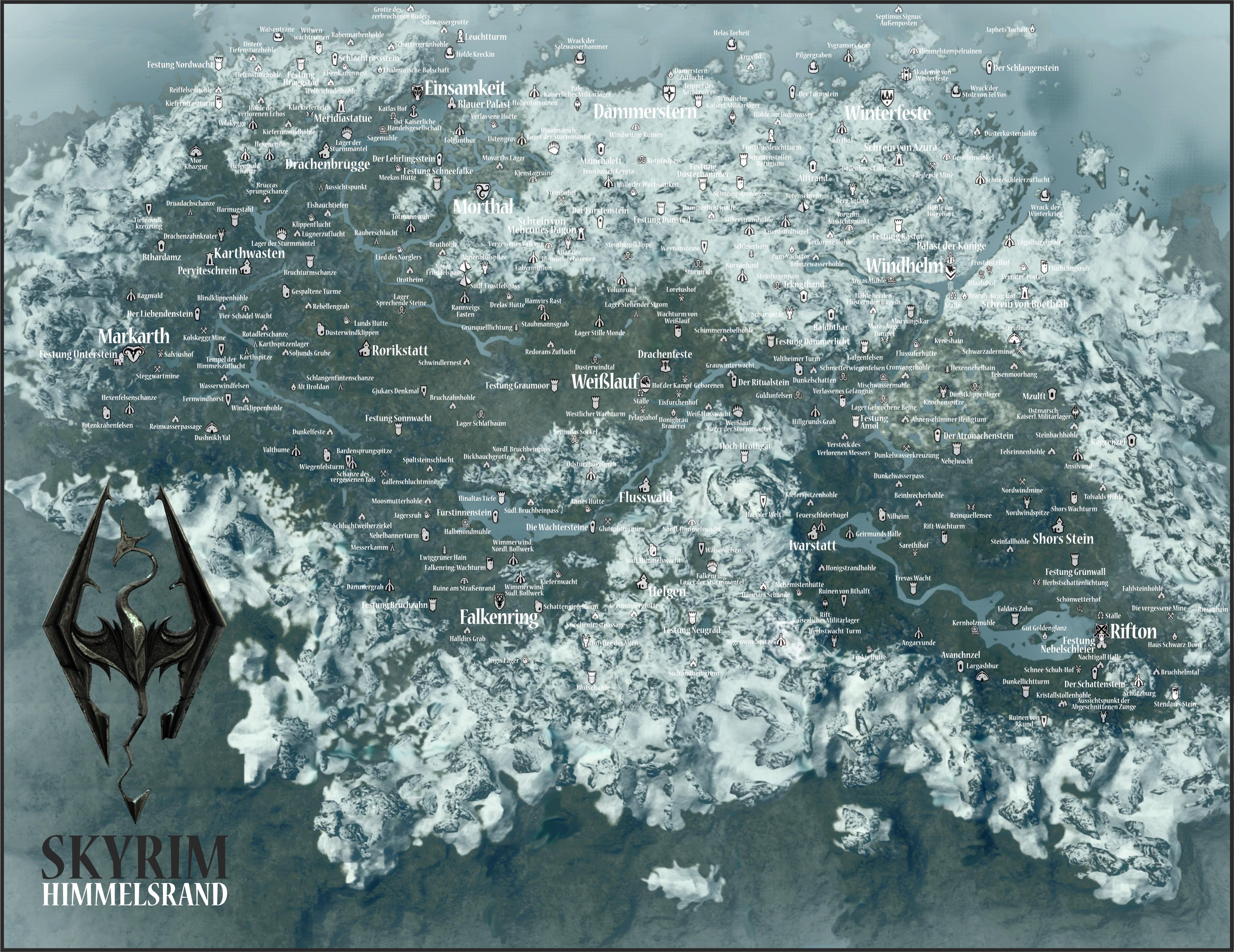 Skyrim Die Karte Von Himmelsrand Mit Allen Städten Verließen Und