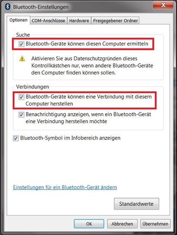 Windows 7 Bluetooth Einstellungen