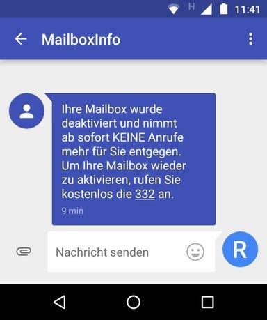 Bestätigungs-SMS: Die Aldi-Talk-Mailbox wurde deaktiviert.