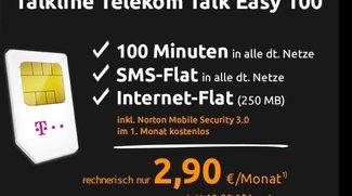 Nur 2,90 Euro pro Monat: 100 Freiminuten, SMS- und Internet-Flat (250 MB Highspeed) im Telekom-Netz
