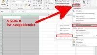 Excel: Ausgeblendete Spalten, Zellen und Blätter einblenden – so geht's