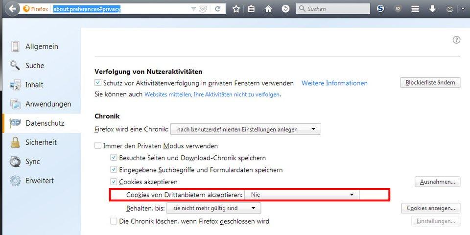 Hier deaktiviert ihr Drittanbieter-Cookies in Firefox