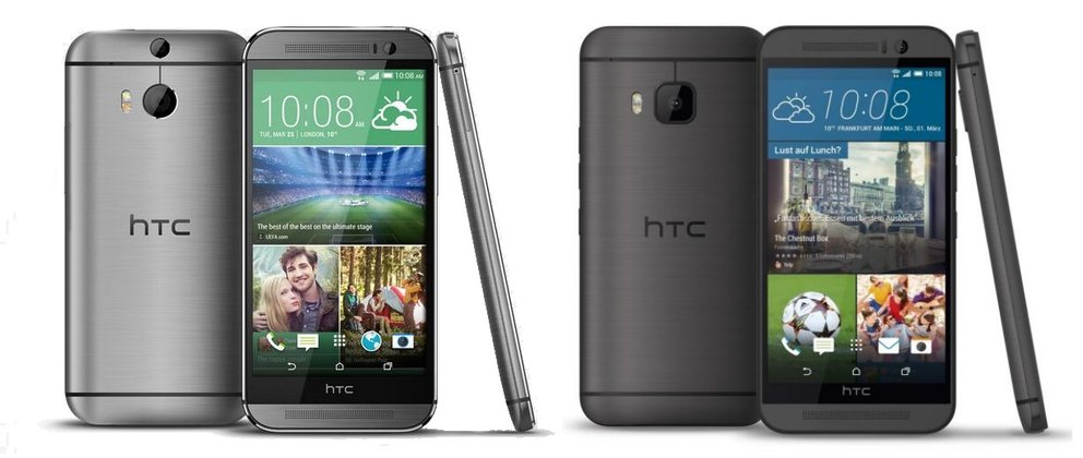 Links: HTC One (M8); rechts: HTC One (M9)