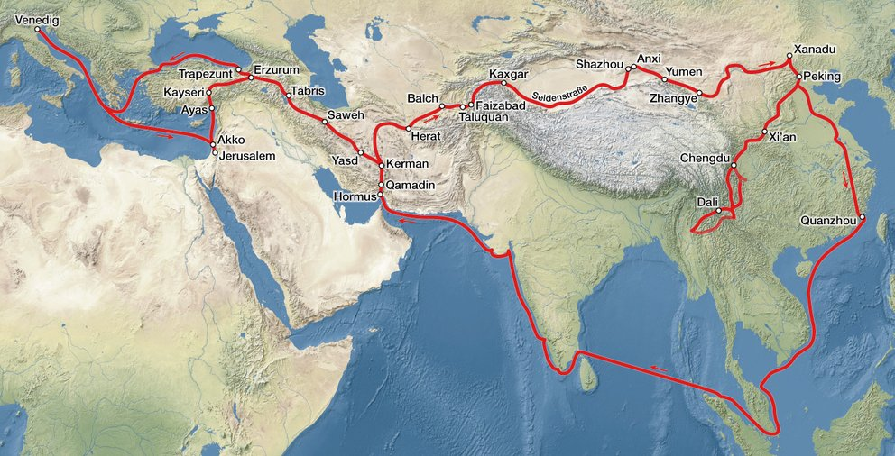 "Die angebliche Reiseroute des echten Marco Polo. ""Travels of Marco Polo"" von Maximilian Dörrbecker (Chumwa) - Eigenes Werk, using Natural Earth data. Lizenziert unter CC BY-SA 2.5 über Wikimedia Commons - http://commons.wikimedia.org/wiki/File:Travels_of_Marco_Polo.jpg#mediaviewer/File:Travels_of_Marco_Polo.jpg"