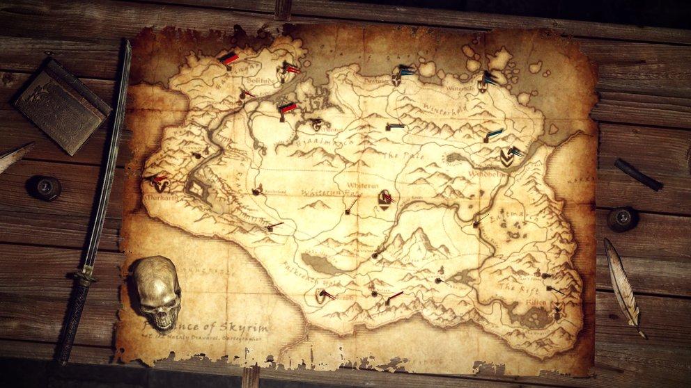 Skyrim: Die Karte von Himmelsrand mit allen Städten