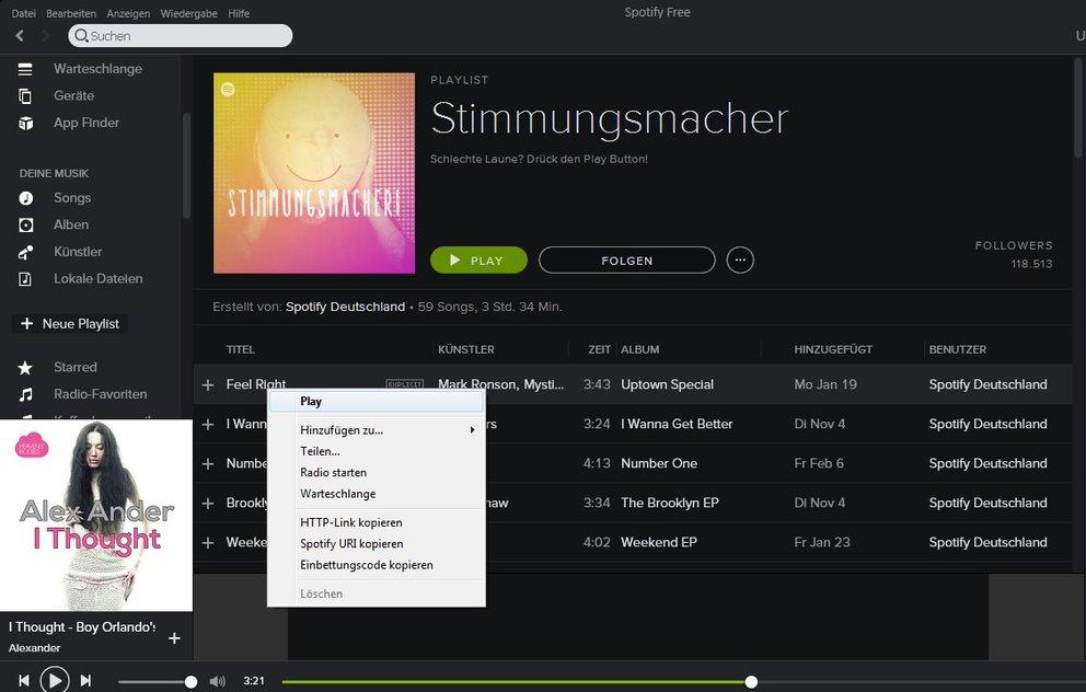Mit Klick auf Hinzufügen kann der einzelne Song zu einer bestehenden oder neuen Playlist hinzugefügt werden.