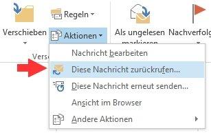 E-Mail zurückrufen Outlook