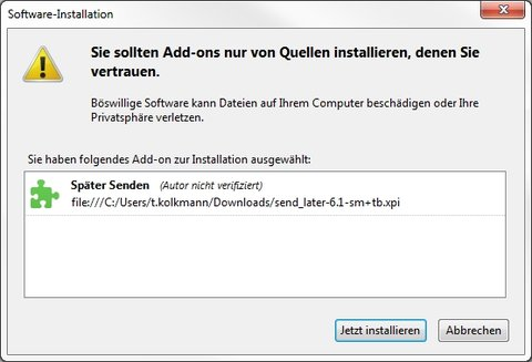 Mozilla Thunderbird Add-ons Installation
