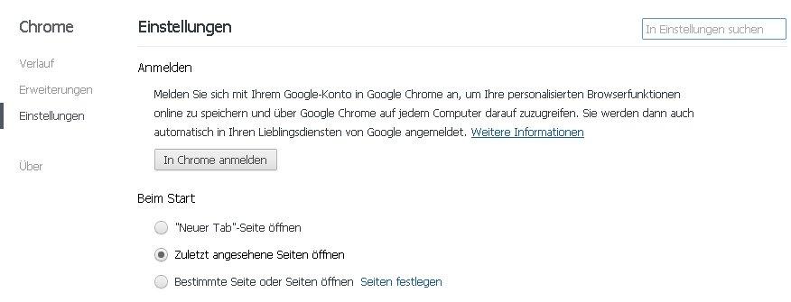 Chrome - letzte Seiten automatisch öffnen