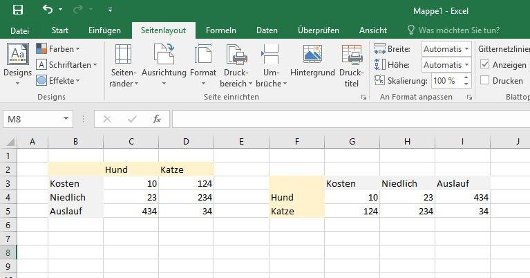 Excel kommentar in den hintergrund