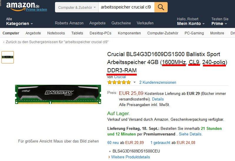 Beim Arbeitsspeicher-Kauf stößt ihr auf Begriffe wie 1600MHz, CL9, und DDR3.