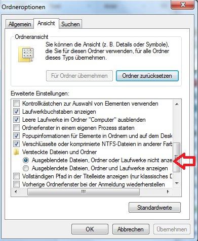"""In der Systemsteuerung kann man die Option """"versteckte Dateien ausblenden"""" aktivieren."""