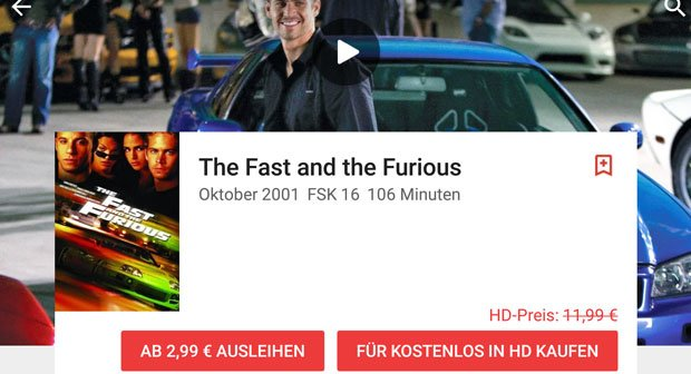 Google Play Movies: The Fast and the Furious in HD-Qualität kostenlos downloaden
