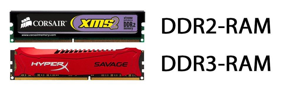 DDR2- und DDR3-RAM: Unterschiedliche Typen von Arbeitsspeicher haben unterschiedliche Bauformen (siehe die Kerbe).