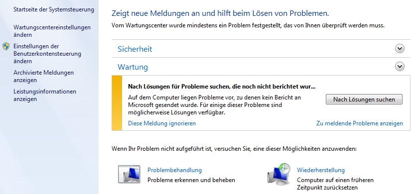 Windows Problemberichterstattung