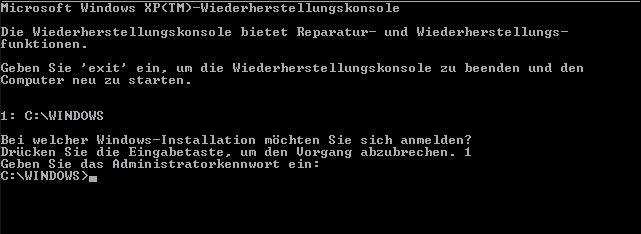 Hier könnt ihr Windows XP per Wiederherstellungskonsole (Kommandozeile) reparieren.