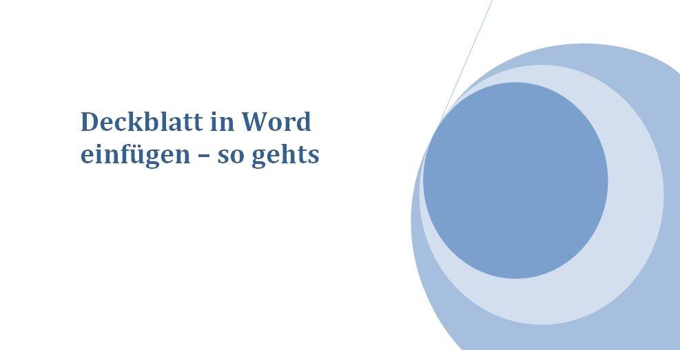 Deckblatt in Word einfügen – so gehts – GIGA