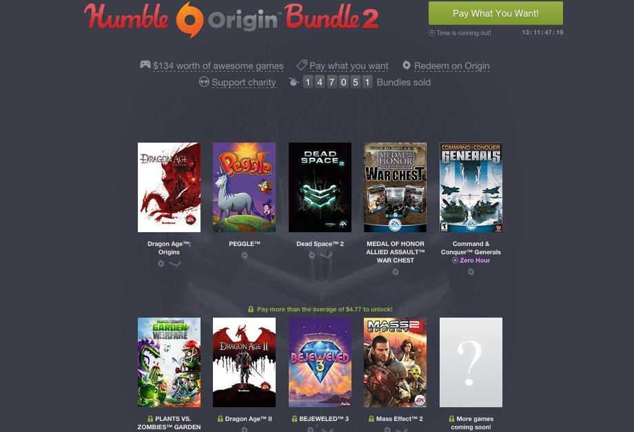 Humble Bundle Update: Humble Origin Bundle 2: Dragon Age, Mass Effect & Mehr Im