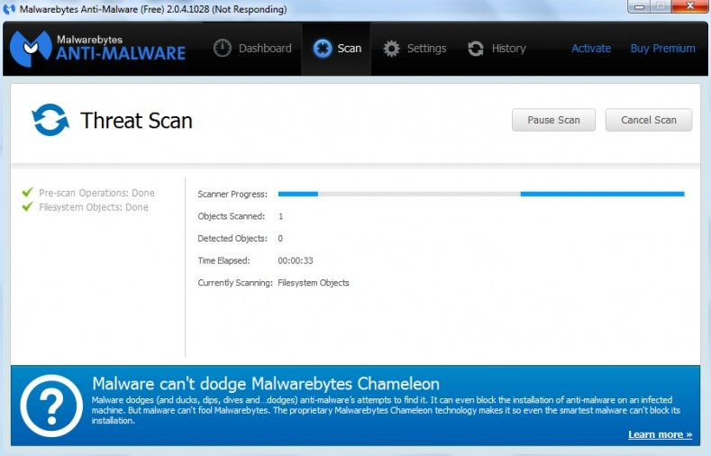 Malwarebytes Anti-Malware - Threat Scan