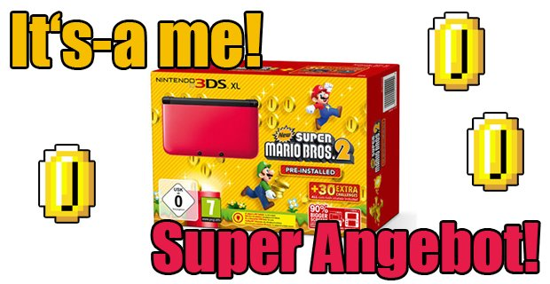 Fetter Deal: Nintendo 3DS XL mit New Super Mario Bros. 2 für 174,99 €