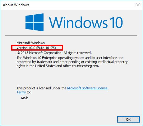 Windows zeigt die Windows-Version und das zugehörige Windows-Konto an.