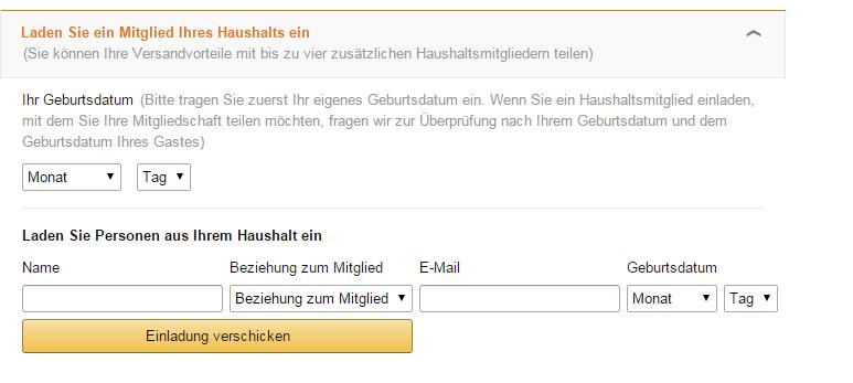 Amazon Account Teilen