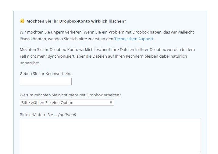 Füllt das Formular aus, um euren Dropbox-Account zu löschen.
