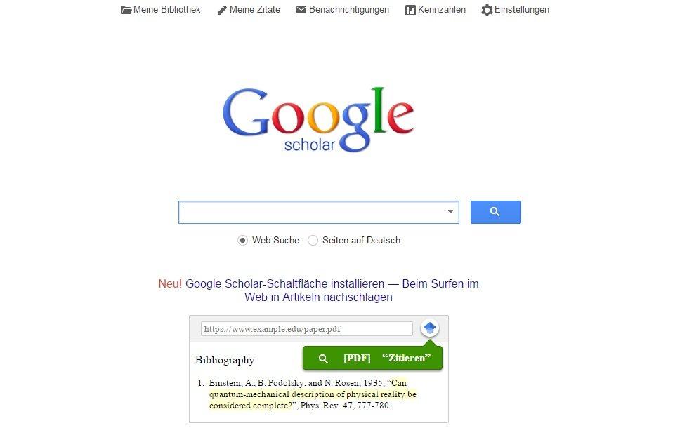 Die Oberfläche entspricht weitgehend der allgemeinen Google-Suche.