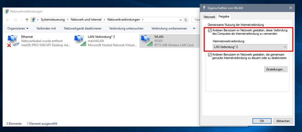 Windows 10: Eure Internetverbindung müsst ihr für das Hotspot-Netzwerk noch freigeben.
