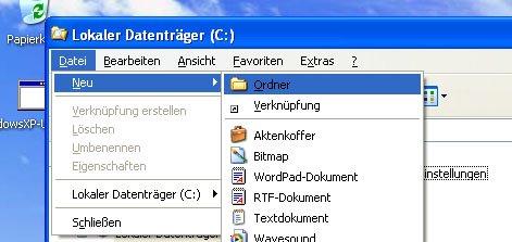 Mit einer Tastenfolge statt einer Tastenkombination erstellt ihr unter Windows XP schnell einen neuen Ordner.