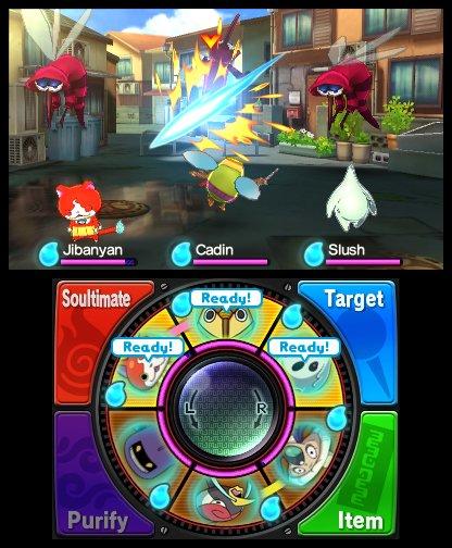 Yo-Kai Watch: Dreht am Rad, um Attacken und Gegenstände zu benutzen.
