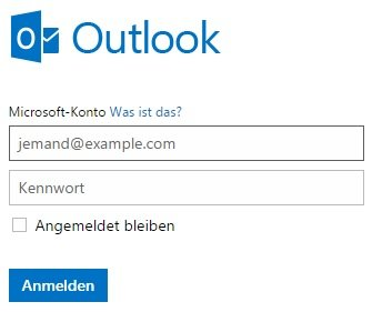 Outlook anmelden
