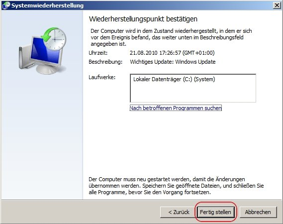 Systemwiederherstellung-Windows-7