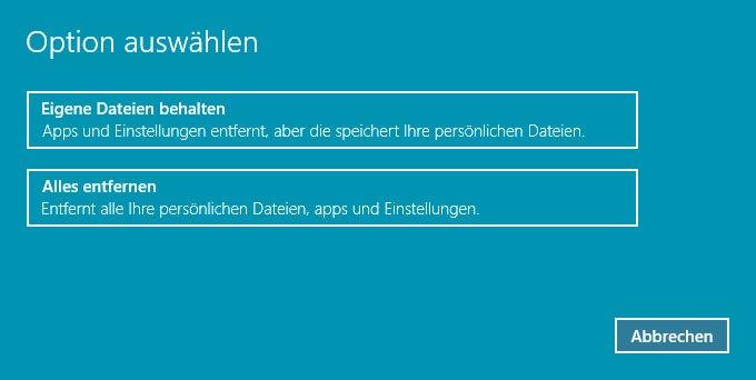 """Die Windows 10 Wiederherstellung bietet euch die Optionen """"Eigene Dateien behalten"""" oder """"Alles entfernen""""."""