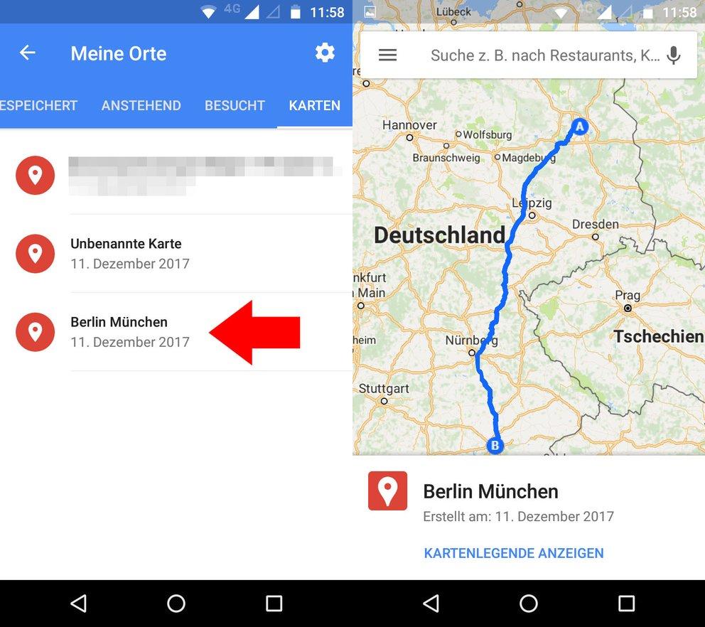 Die gespeicherten Google Maps Routen könnt ihr in der Google Maps App jederzeit schnell abrufen.