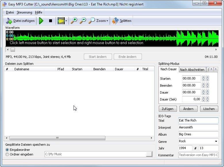 Easy MP3 Cutter ist ein einfach zu bedienendes und kostenloses Tool für das Schneiden von Audiodateien.
