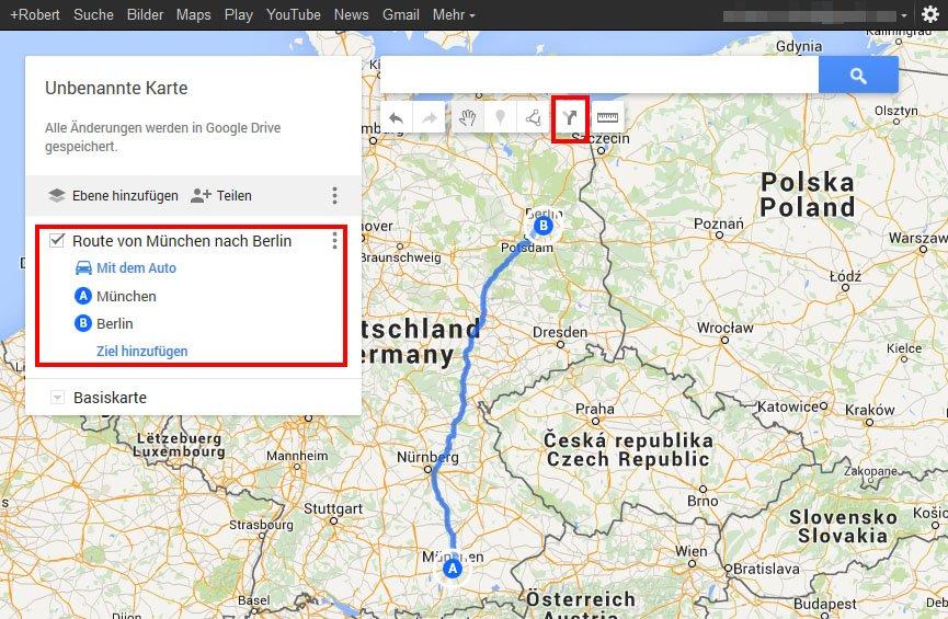 In Google My Maps legt ihr zunächst eine Route an.