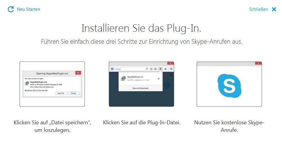 Skype will ein Plugin installieren, damit Video- und Audio-Anrufe über den Browser funktionieren.