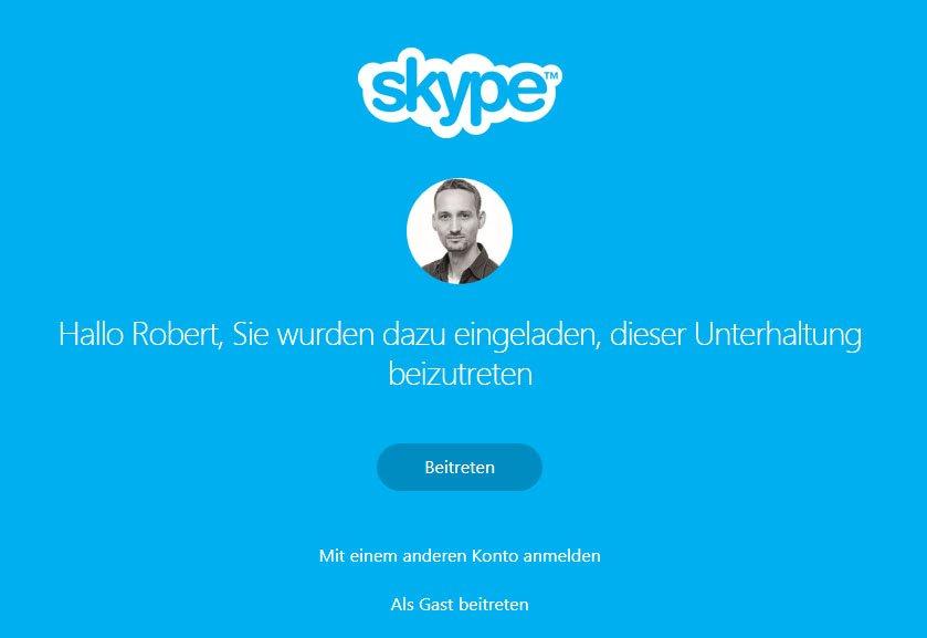 Mit dem Skype-Link kann sich der Empfänger in die Unterhaltung einloggen.